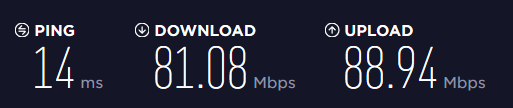 Speed test using Speedtest.net